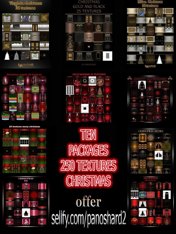 TEN PACKAGES 250 TEXTURES CHRISTMAS ROOM (65% discount for a few days)