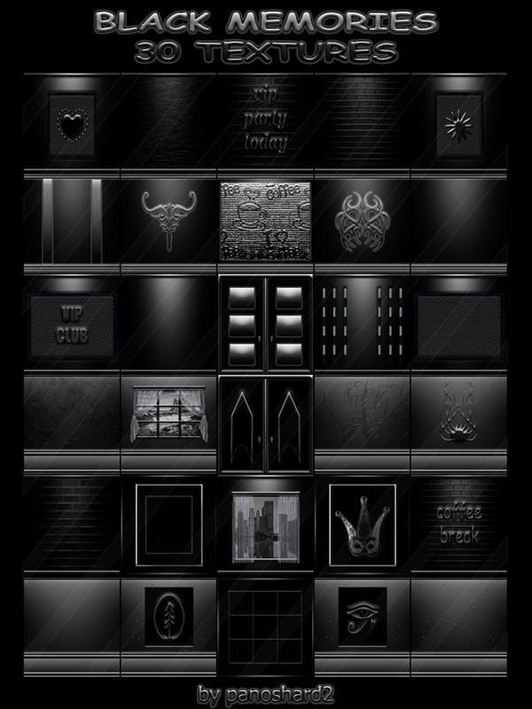 BLACK MEMORIES 30 TEXTURES FOR IMVU CREATOR ROOMS (will be sold to ten creators)
