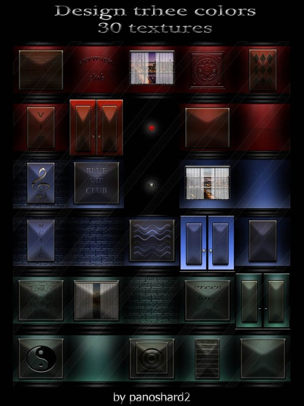 Design trhee colors 30 textures for imvu rooms