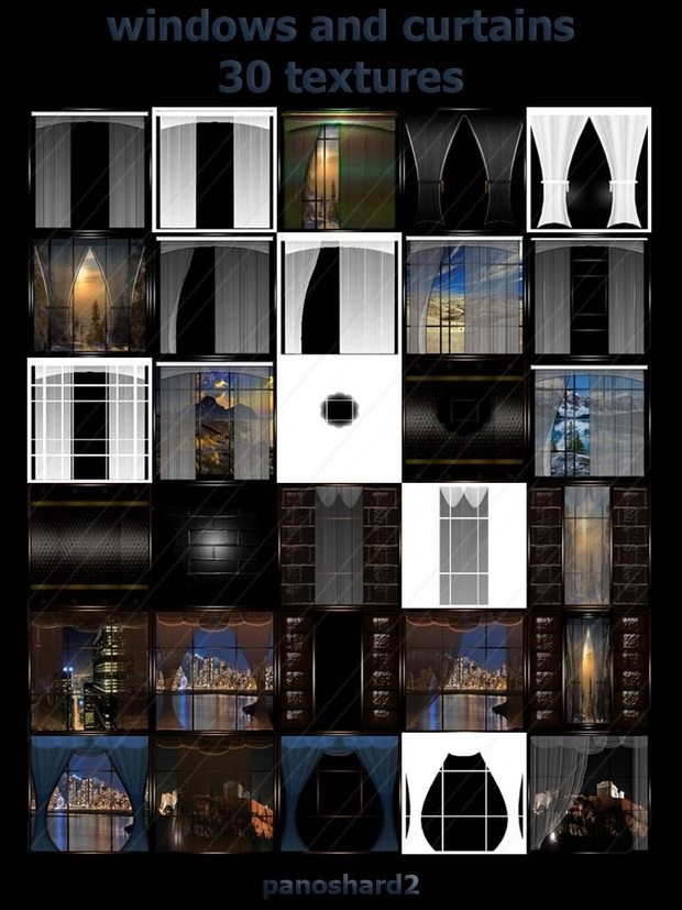 windows and curtains 30 textures for imvu