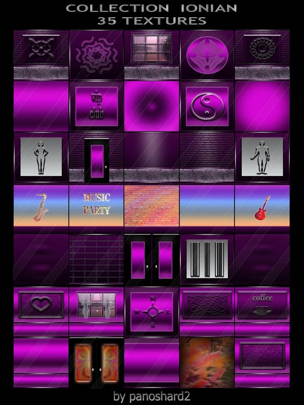 COLLECTION  IONIAN 35 TEXTURES FOR IMVU CREATOR ROOMS  (will be sold to ten creators)