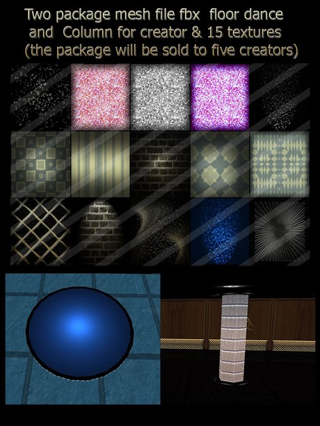 Two package mesh file fbx  floor dance  and Column for creator & 15 textures