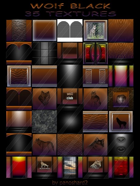 WOLF BLACK COLLECTION 35 TEXTURES FOR IMVU CREATOR ROOMS ( will be sold to ten creator)