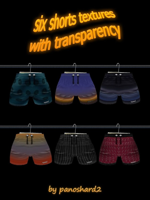 six shorts textures with transparency for imvu by panoshard2