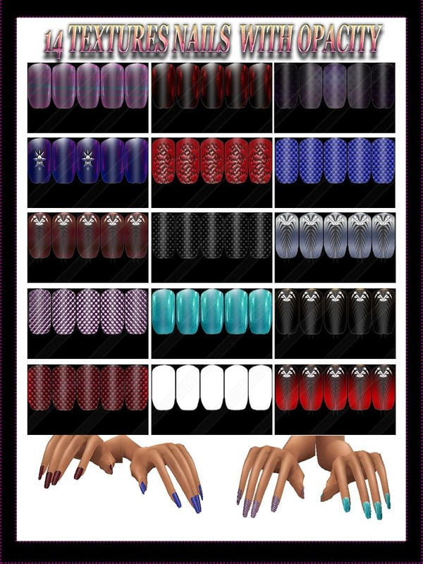 14 TEXTURES NAILS  WITH OPACITY FOR IMVU  CREATOR  ( The package will be sold to 10 people )