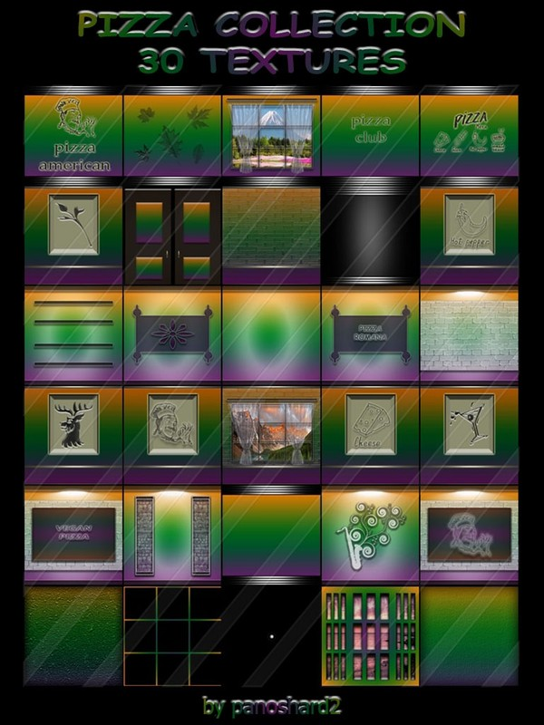PIZZA COLLECTION 30 TEXTURES FOR IMVU ROOMS