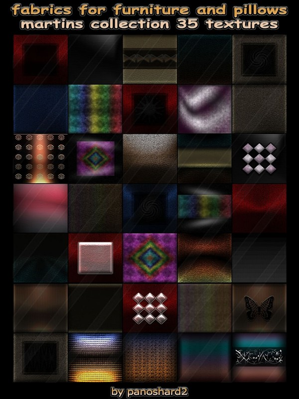 Fabrics for furniture and pillows collection martins 35 textures for imvu creator