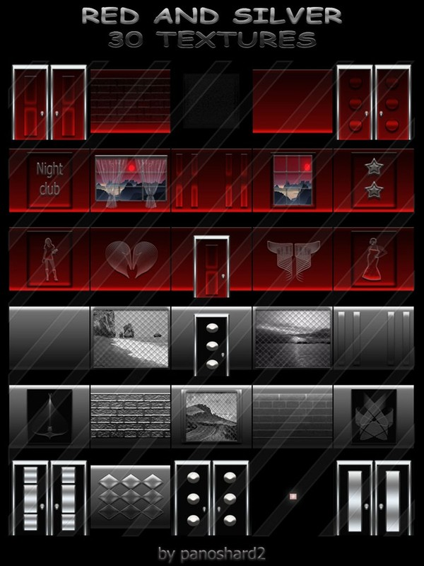 RED AND SILVER COLLECTION 30 TEXTURES FOR IMVU ROOMS ( will be sold to ten creator)