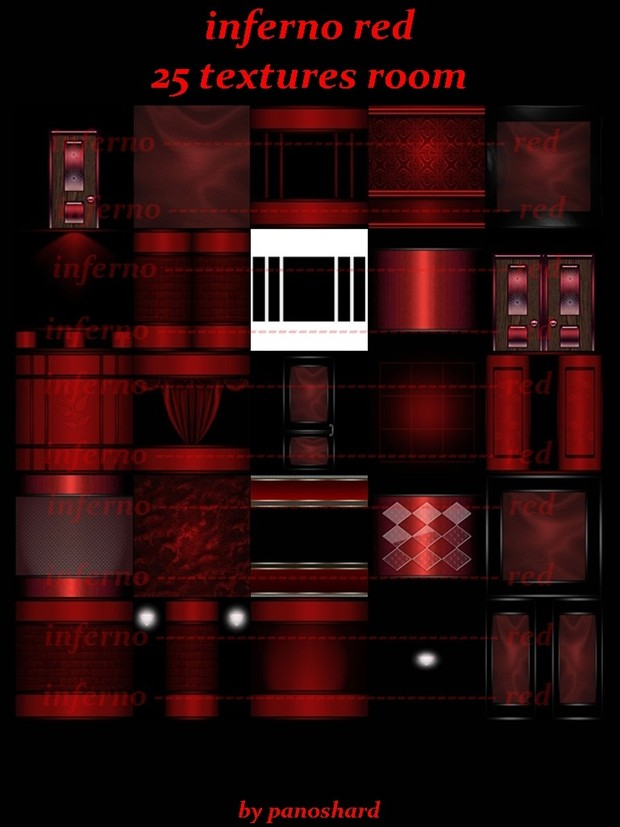 inferno red 25 textures room