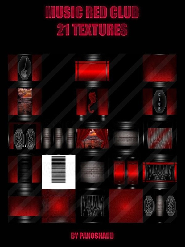 MUSIC RED CLUB 21 TEXTURES FOR IMVU ROOMS