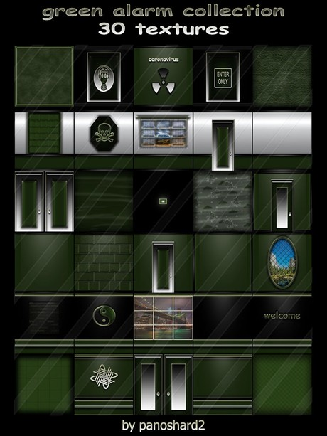 Green alarm collection 30 textures for imvu creator rooms  ( will be sold to ten creator)