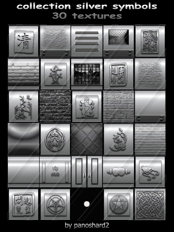 collection silver symbols 30 textures  for imvu creator rooms (will be sold to ten creators)