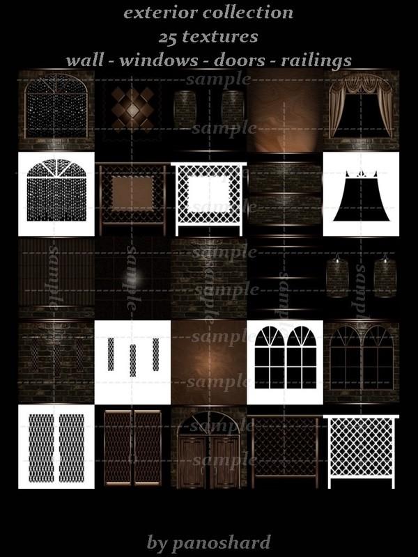 Exterior collection 25 textures wall windows doors railings