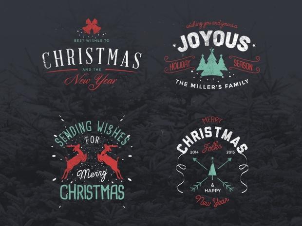 4 Vintage Christmas Badges - Freebie