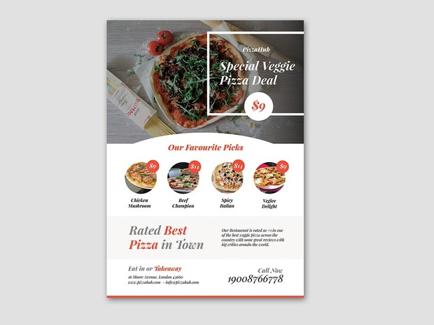 free pizza flyer template psd designcoon quality free templates