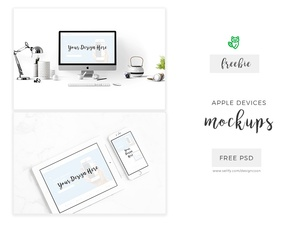Free Mockup Apple iPhone, iPad and Mac Mockups