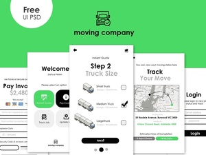 Free Moving App UI PSD Template