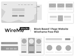 WireMe - Block |  Plug and Design Based. Free Wireframe Website PSD