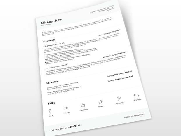 Free Clean Resume Template PSD