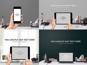 Realistic Iphone, Ipad and Macbook Mockup PSD with Holding Hands