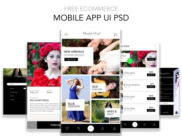 Free Shop Mobile App UI PSD