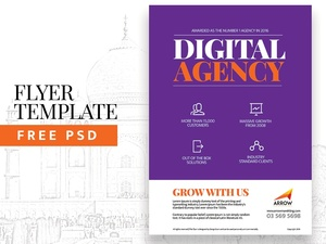 Free Flyer Template PSD - Agency Flyer Template Download PSD