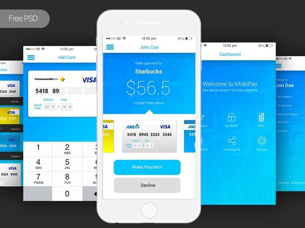 Free PSD Mobile App Payment App UI Template - DesignCoon | Quality