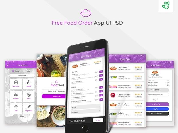 Free Food Order App UI PSD Download
