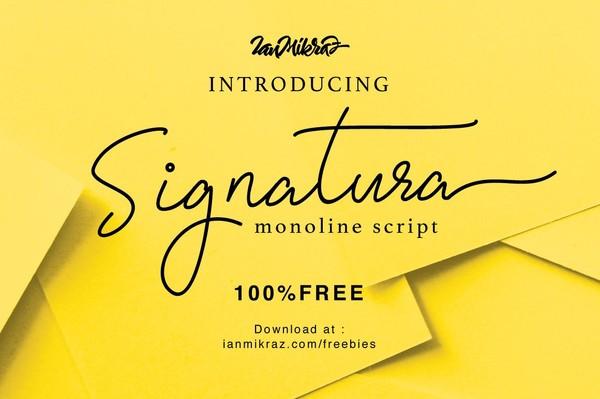 Signatura Monoline Free Typeface