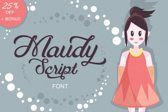 Maudy Script (25% Off) + Bonus