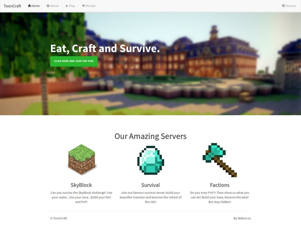 Minecraft website template project | free psd template | psd repo.
