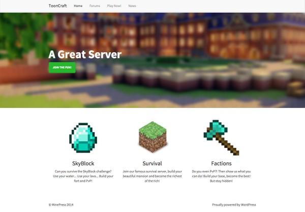 ToonCraft: Minecraft WordPress Theme