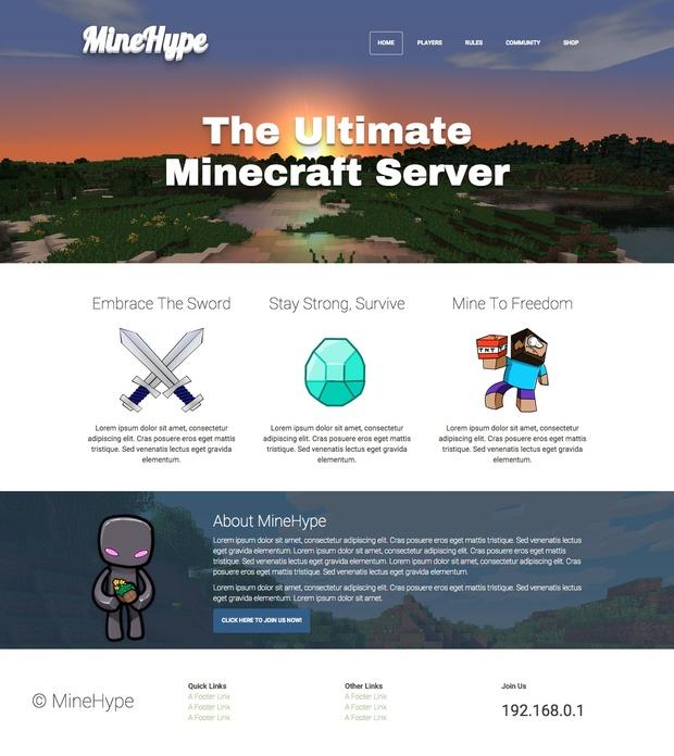 MineHype Minecraft Bootstrap HTML Template